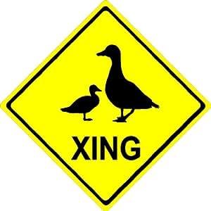 "8""x8"" aluminum metal Duck XING. Crossing zone novelty sign"