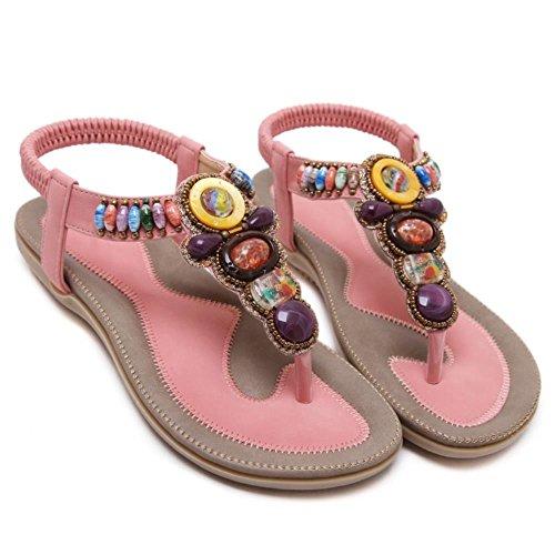 FANIMILA Moda Mujer Basic Bohemian Clip Toe Tacon Bajo Flip Flop Sandalias Rosado