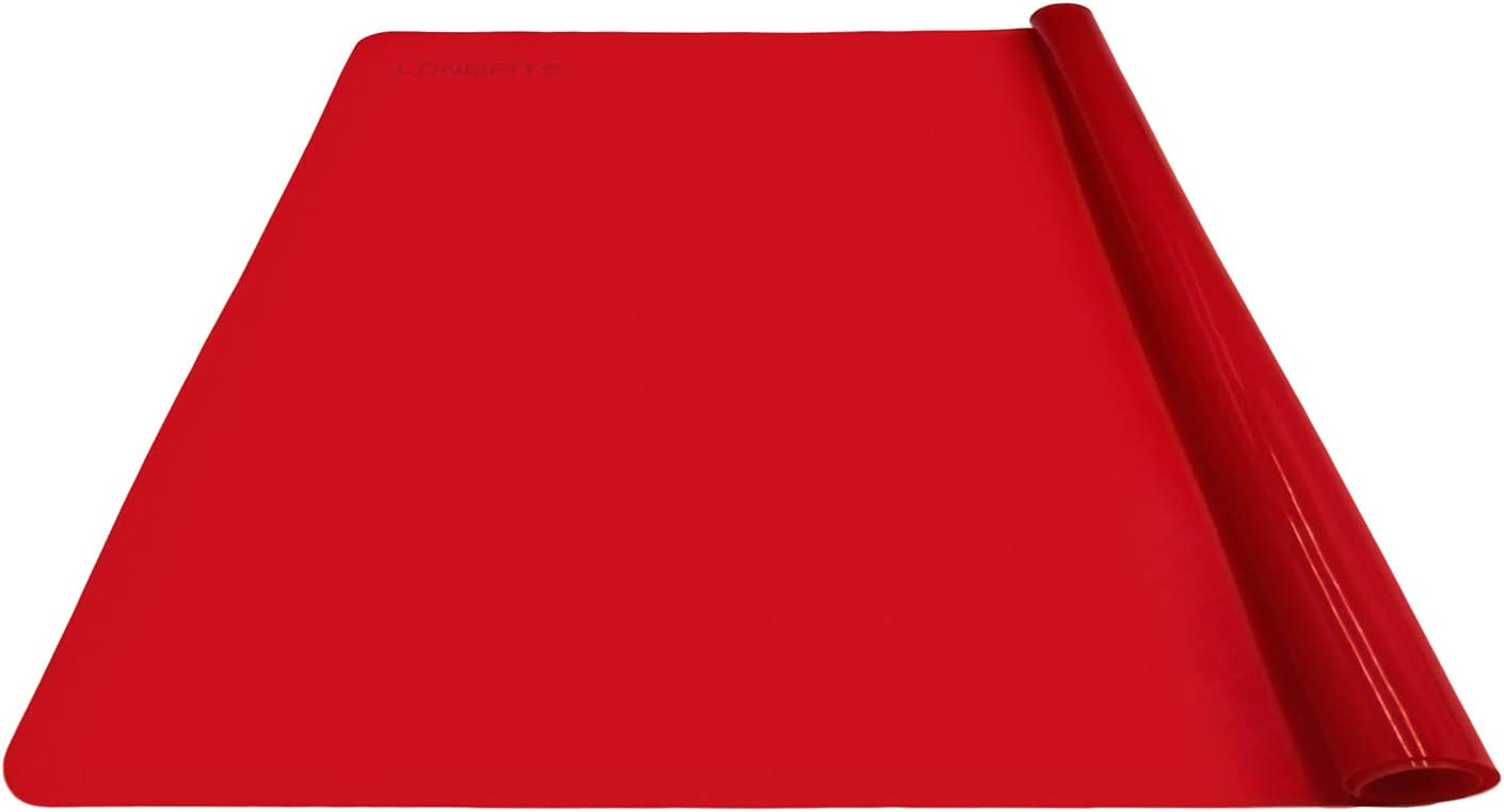 LONGFITE Silicone Baking Mat for Dough Rolling Pastry Fondant Mat Large Nonstick and Nonskid Heat Resistent, Countertop Protector, Dining Table Mat and Placemat 20'' by 16'' (Large Size, Red)