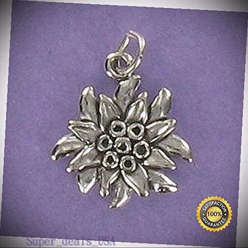Edelweiss Flower Charm Sterling Silver for Charm Bracelet Austria White Song DIY Handmade Ornament Crafts