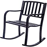 Giantex Patio Metal Porch Rocking Chair Seat Deck Outdoor Backyard Glider Rocker (Straight Design)