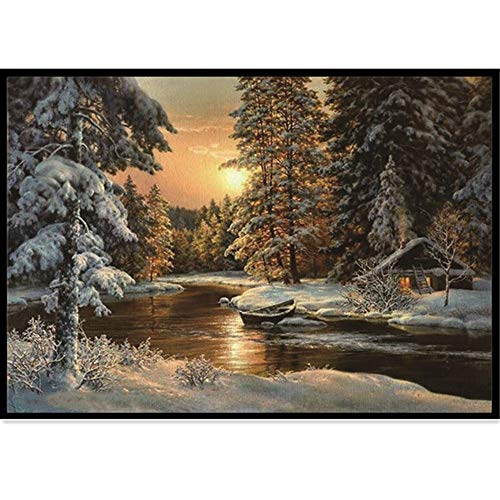 (5D Diamond Painting Rhinestone Snow Scene Woodland Cabin Embroidery Wallpaper DIY Crystal Cross Stitch Arts Wallpaper Handmade Artwork Tools Kits)
