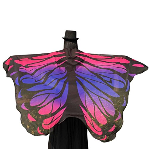 YANG-YI Clearance, 2018 Hot Women Multicolor Soft Fabric Butterfly Printing Wings Fairy Ladies Nymph Pixie Costume Accessory #3 (Hot Pink, 197X125CM) (Pink Fairy Silks Wings)