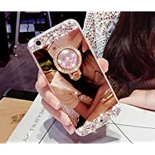 CJW Crystal Rhinestone Mirror Glass Case Bling Diamond Soft Makeup Case for Samsung Galaxy S6 7 8 iPhone 5 6 7 with 360 Degree Ring Stand (Samsung Galaxy S4, Rose Gold)