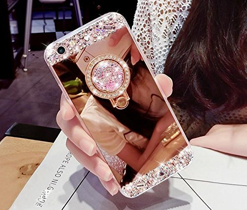 CJW Crystal Rhinestone Mirror Glass Case Bling Diamond Soft Makeup Case for Samsung Galaxy S4 5 6 7 8 with 360 Degree Ring Stand (Rose Gold+Tempered Screen Protector, iPhone 6 Plus/6S Plus[5.5 Inch]) (Diamond Crystal Protector)