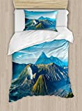 Volcano Twin Size Duvet Cover Set by Ambesonne, Mount Bromo Volcano During Sunrise in East Java Indonesia Majestic Nature, Decorative 2 Piece Bedding Set with 1 Pillow Sham, Sky Blue Green White