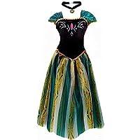 kuisen Disfraz de Princesa de para Adulto y Mujer, Disfraz de Anna Elsa