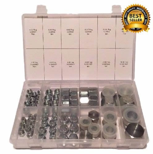 "SCHMIDT HYDRAULIC 37 Degree Flare 64 Pcs Lot JIC Hydraulic Adapter Compression Fitting Plug & Cap ""AN"" Kit Set for High Pressure Fuel Delivery and Fluid Power (Adaptor Plug Kit)"