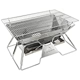 Vfdsvbdv Camping Barbecue Furnace Grill Detachable Portable Charcoal BBQ Stove Made from Stainless Steel for Outdoor and Home (Color : Gray)
