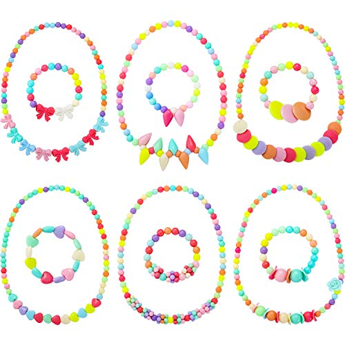 ncess Necklace Bracelet Play Jewelry Little Girls Costume Necklaces Toddler Dress up Jewelry (Style 2) ()