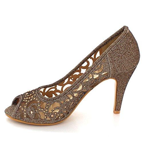 Fête Taille Marron Sandales Femmes Diamante Soir Peeptoe Dames de Talon Chaussures Haut Bal des Mariage xxgtwqU