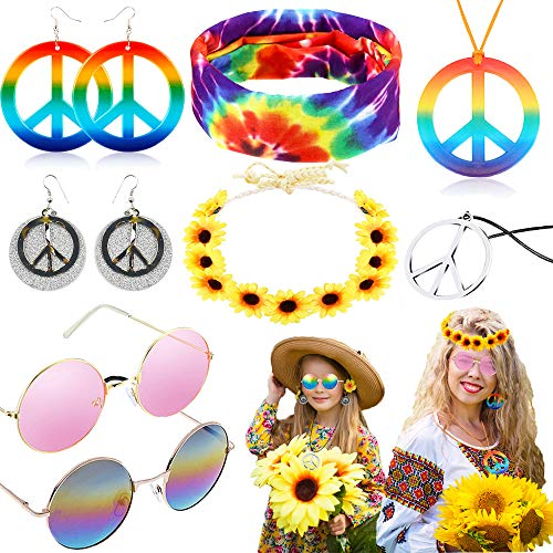 8 Pieces Hippie Accessories Hippie Halloween Costume Set Hippie Sunglasses Peace Sign Pendant Tie Dye Headband Bandana Peace Sign Earrings