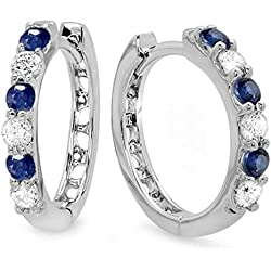 18K White Gold Round Ladies Huggies Hoop Earrings