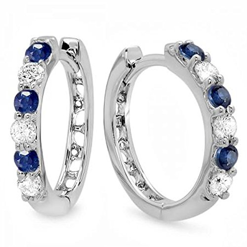 14K White Gold Round Blue Sapphire & White Diamond Ladies Huggies Hoop Earrings (Sapphire White Earrings Fancy)