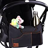 Best Universal Stroller Organizer Bag with Double Two Drink Cup Holders for Smart Moms - Baby Umbrella Stroller Storage Accessories for Shower Gifts Ideas - Bonus Shoulder Strap and Hook