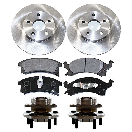 Prime Choice Auto Parts RHBBK0266 Front Brake Rotors Ceramic Brake Pads and Hub Bearing Assemblies (Front Brake Hub Assembly)
