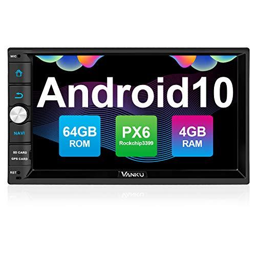 vanku android 10 radio 2 din autoradio con px6 4gb64gb qualcomm bt 50 gps soporte control volante wifi usb sd mirror link 4g con 7 pantalla tactil