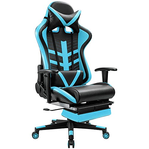 Homall Gaming Chair Ergonomic High Back Racing Chair Premium Pu Leather Bucket Seat Computer Swivel Lumbar Support Executive Office Chair  Blue W Footrest