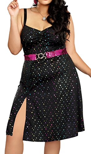 Dreamgirl Women's Disco Diva Plus Size, Black,