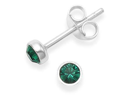 ba2515d7b204 Plata de Ley Circonita Stud Pendientes - Verde esmeralda CZ - tamaño  4 mm.  Calidad en caja de regalo  Amazon.es  Joyería