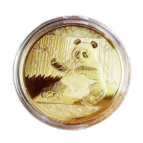 (E-House Panda Supplies Gifts Adorable Panda Commemorative Coin Holiday Season Souvenir Badge Collection Gift - Golden)
