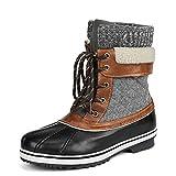 DREAM PAIRS Women's Monte_01 Black Grey Mid Calf Winter Snow Boots Size 6 M US