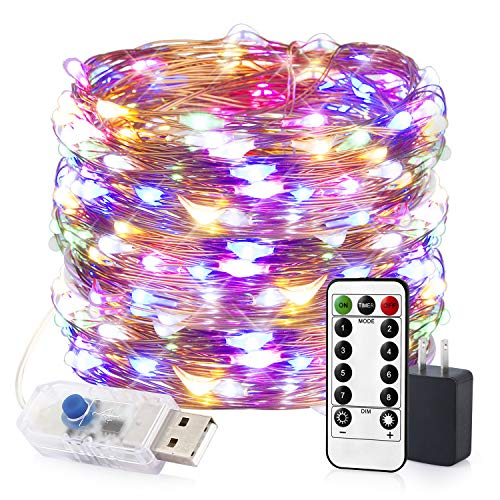 - innotree LED String Lights, 33ft 100 LED USB Plug in Fairy Lights, 8 Modes Dimmable Copper Wire Lights with Remote Control + UL Adapter for Bed Patio, Parties(IP65 Waterproof, Multicolored)