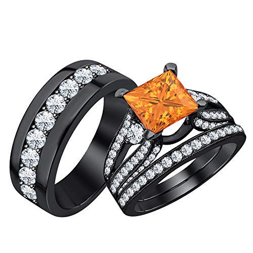 SVC-JEWELS Beautiful Wedding Halo Trio Ring Band Set Princess Shaped 3.75 cttw Orange Sapphire & Dimaond 14k Black Gold Plated .925 Sterling Silver for Men & Women's -