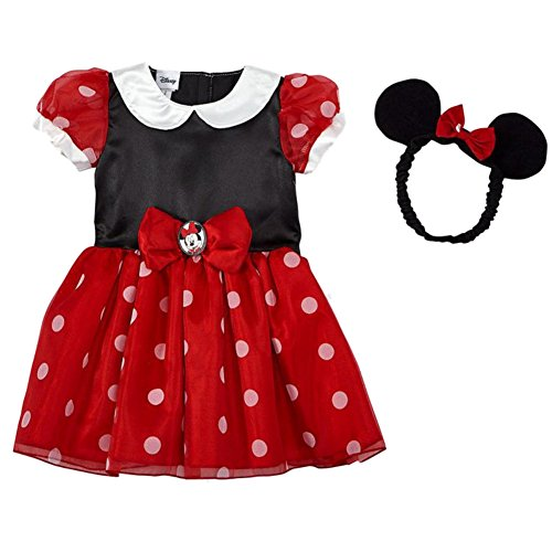 Disney Infant Toddler Girls Minnie Mouse Costume Red Baby Dress Headband 3-6m ()