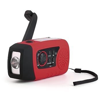 Maexus Solar Radio Portátil emergencia radio del tiempo con la linterna de la manivela Solar luces