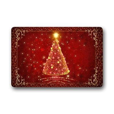 "New Design Beautiful Red Shiny Christmas Tree/ Christmas Doormat/Christmas Decoration Durable Machine-washable Indoor/outdoor Door Mat 18""(W) x 30""(L)"