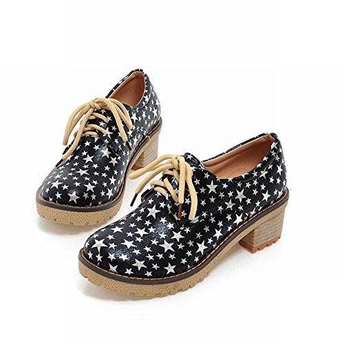 Show Shine Womens Fashion Stars Platform Mid Chunky Heel Oxfords Shoes Black