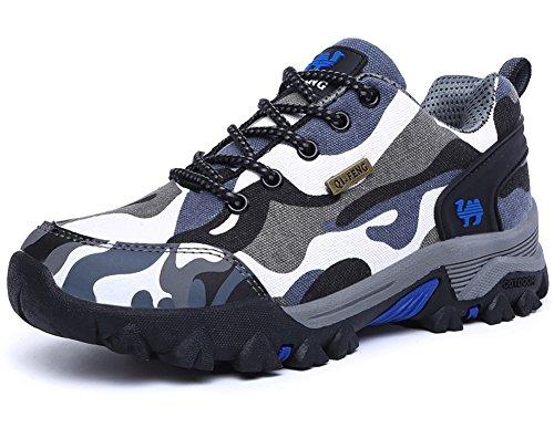 Antiscivolo Unisex Outdoor B Trekking Arrampicata Uomo Donna Traspirante Blu Escursionismo impermeabile Scarpe Stivali Allacciatura Sneakers Minetom Resistente Da Grigio wxSpnZqO