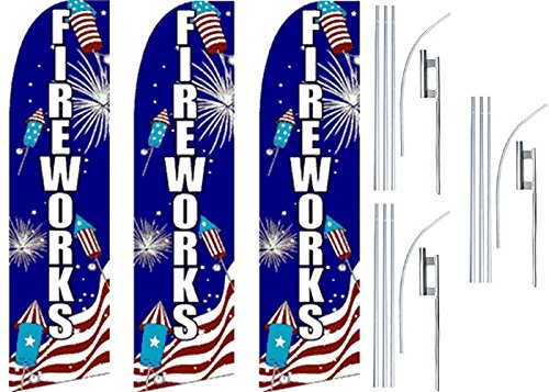 3 Swooper Flutter Feather Flags plus 3 Poles & Ground Spikes FIREWORKS Crackers Blue Red