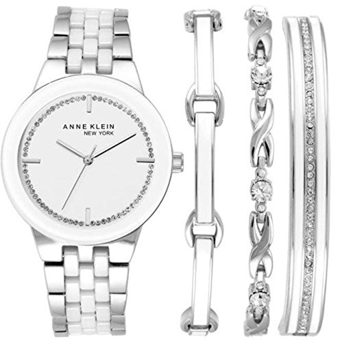 Anne Klein New York Women's SILVER Tone Watch and Bracelet Set 12/2243SVST (Retail Price:$350)