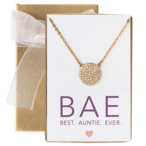 A+O Gift for Aunt, CZ Pave Disc Necklace in 14K Gold Vermeil