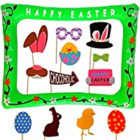 Easter Photo Booth Props with Inflatable Picture Frame Included - NO DIY REQUIRED Attached to the stick - Egg Rabbit Basket Decorations - 30 Count