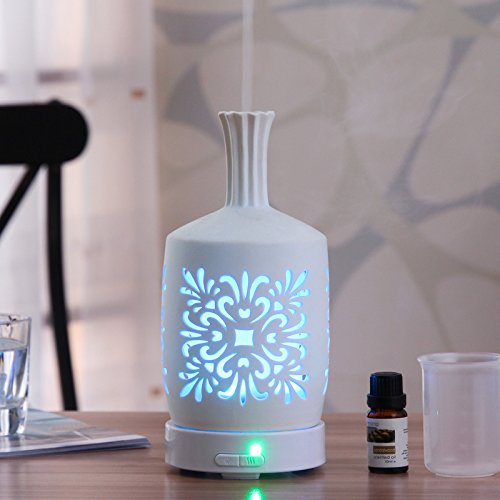 LUOTIANLANG Ceramic hollow intelligent ultrasonic humidifier, super quiet led seven color fragrance lamp, 100ML air humidifier,D, 11 x 22cm