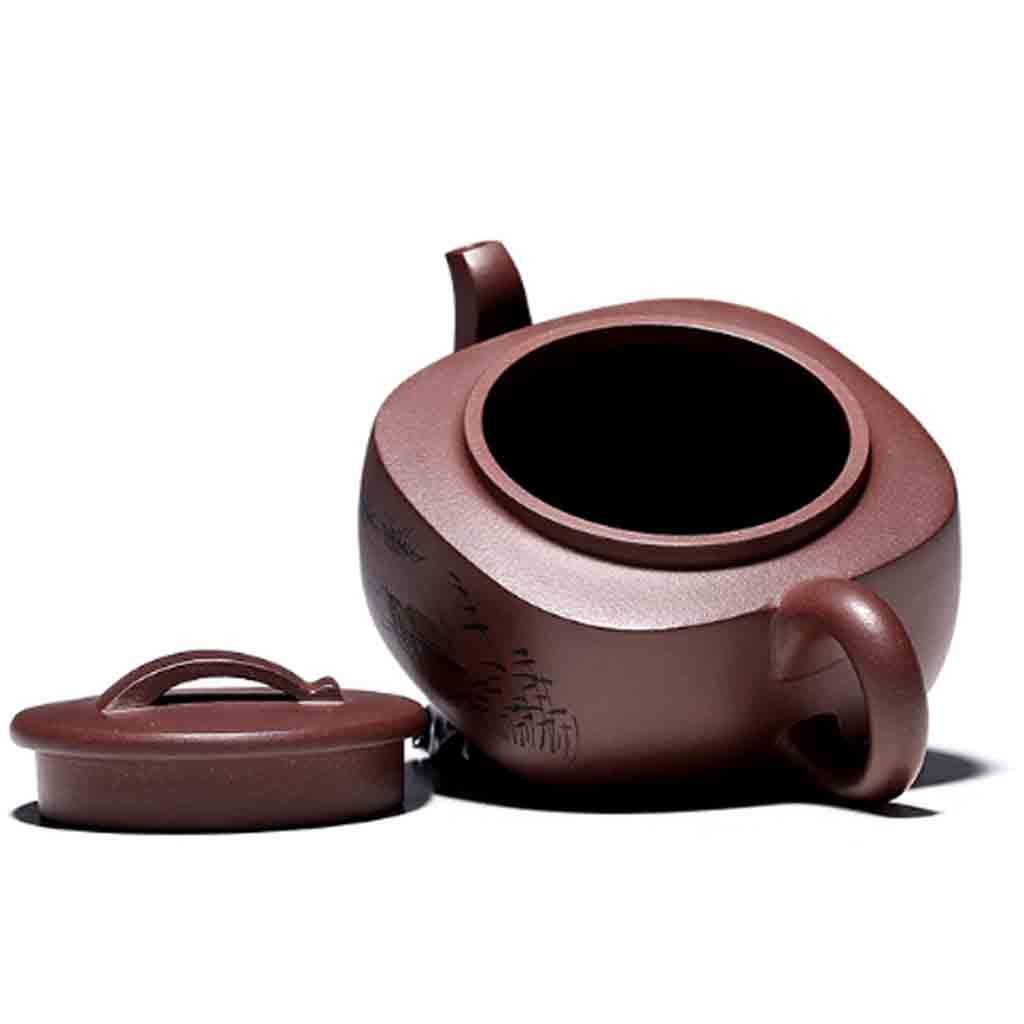 Teapot handmade large capacity teapot square tea set mixed pot kung fu teapot set non-ceramic full hand-painted teapot (Color : BROWN, Size : 16.4X7CM) by GQQ (Image #6)