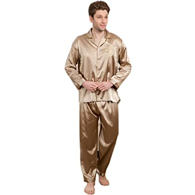 Smile Mens Silk Satin Pajamas Set Sleepwear Loungewear Pyjamas PJS Long  Sleeve 2PCS M016 M L XL at Amazon Men s Clothing store  c98db9240