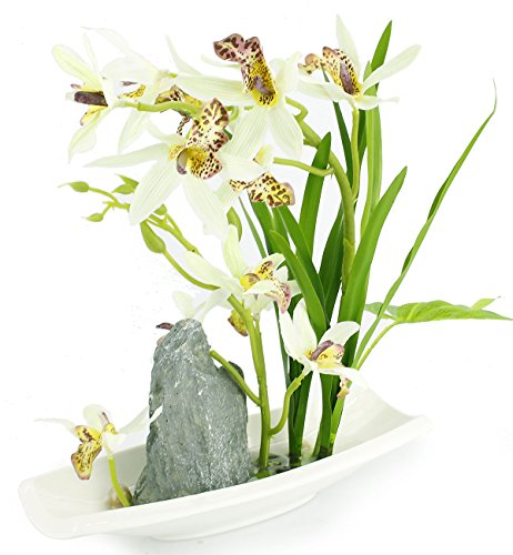 Rockery Series Silk Orchid Arrangements with Ceramic Vase,Vivid Potted White Artificial Bonsai (Jade Bonsai Flower Tree)