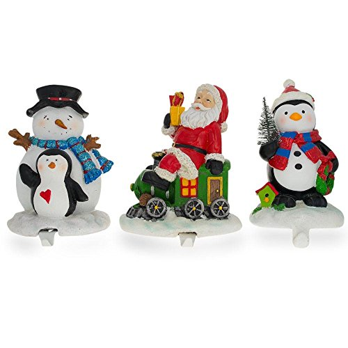 - BestPysanky Set of 3 Hand Painted Stocking Holders - Penguin, Snowman & Santa 6.5 Inches