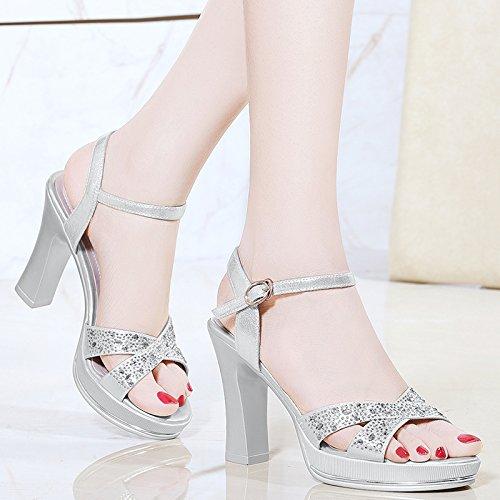 Silver de chaussures Talons hauts femme chaussures HUAIHAIZ Sandales hauts chaussures foret talons à d'eau soirée Escarpins SwqOxazZ