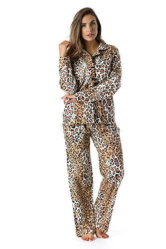 #followme 6371-10114-3X Printed Flannel Button Front PJ Pant Set -