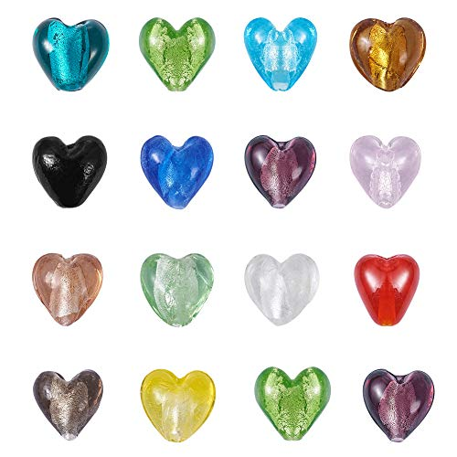 Beads Lampwork Foil Silver Heart - Craftdady 200pcs Heart Shape Mixed Colors Lampwork Silver Foil Glass Beads Loose Beads Charm for Bracelets Earrings Jewelry Making