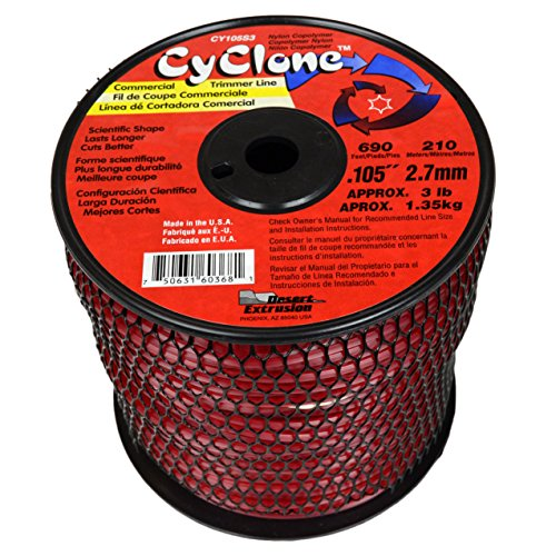 (Cyclone .105-Inch 3-Pound Spool Commercial Grade 6-Blade Grass Trimmer Line, Red CY105S3-2 )