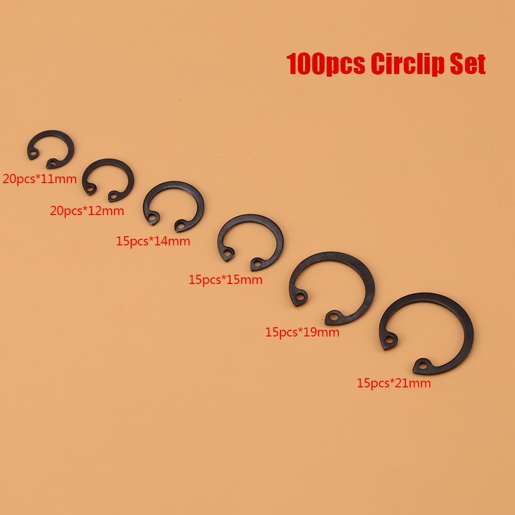 GLOGLOW 100pcs Multi-Funcional C-Clips Snap Anillo de retenci/ón circlip Conjunto Surtido 11 mm 21 mm 6 tama/ños con Caja