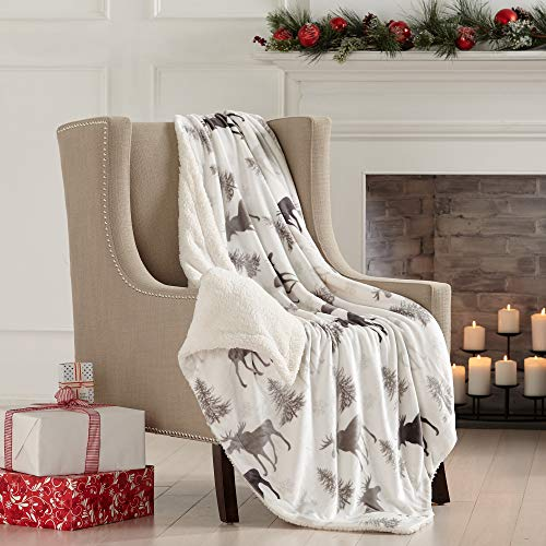 Home Fashion Designs Premium Reversible Two-in-One Sherpa and Sculpted Velvet Plush Luxury Blanket. Fuzzy, Cozy, All-Season Berber Fleece Throw Blanket Brand. (Moose)