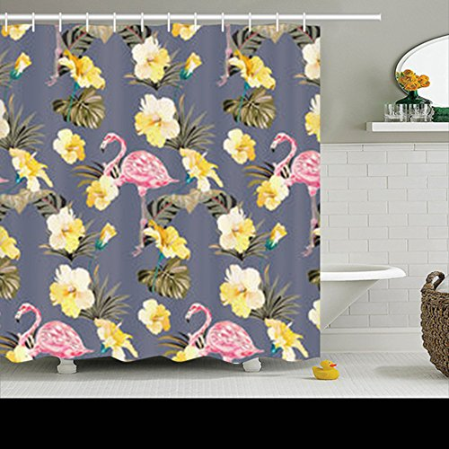 Design Summer Tropical Pattern Yellow Hibiscuses Flamingos H