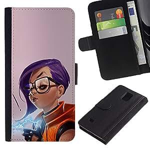 Protector de cuero de la PU de la cubierta del estilo de la carpeta del tirón BY RAYDREAMMM - Samsung Galaxy Note 4 IV - Chica púrpura del pelo